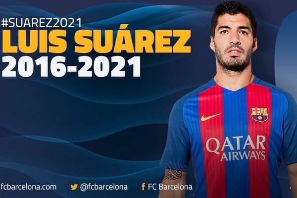 سواريز يجدد عقده مع برشلونة حتى عام 2021