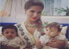 أول ظهور للأميرة سكينة رفقة ابنيها التوأم
