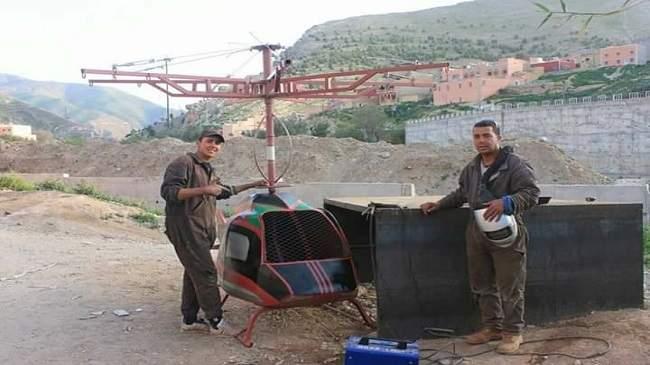 """شاب مغربي يتمكن من صنع طيارة """"هيليكوبتر"""" بشيشاوة+صور"""