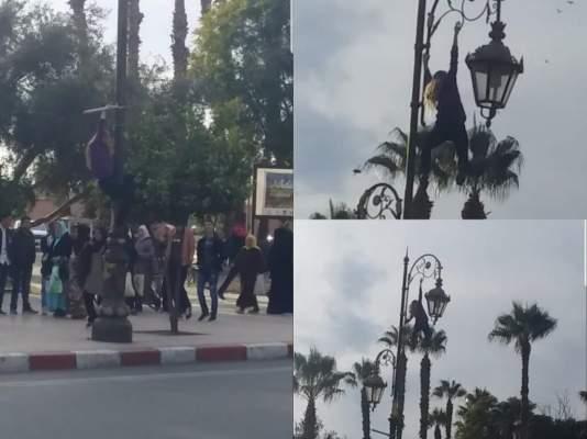 بالفيديو.. شاهد سائحة شقراء تتسلق عمودا كهربائيا في مراكش وكيف تفاعل معها مواطنون