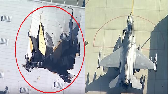 """فيديو..سقوط مقاتلة أمريكية """"إف-16"""" فوق مبنى في كاليفورنيا"""