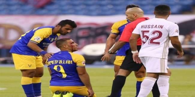 حمد الله يتعرض لإصابة دامية في مباراة النصر امام الوحدة الإماراتي (فيديو)
