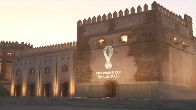 فيديو..شعار مونديال قطر 2022 يظهر في قصبة الرباط التاريخية